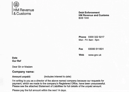 HMRC Debt Enforcement Letter